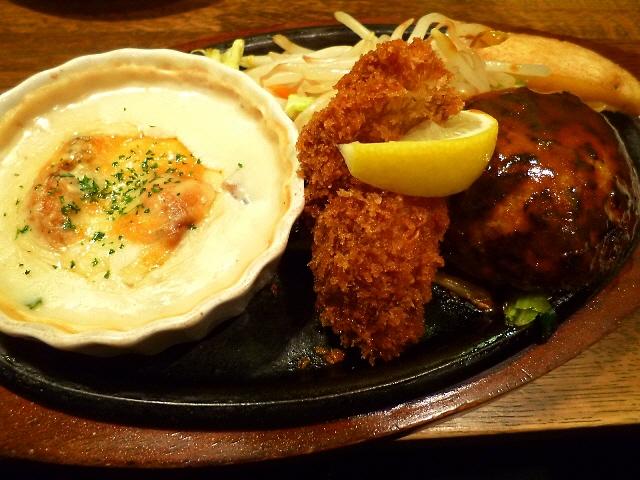 絶品ハンバーグと牡蠣のお得な組み合わせが人気です  大阪駅前第3ビル  「ぶどう亭」