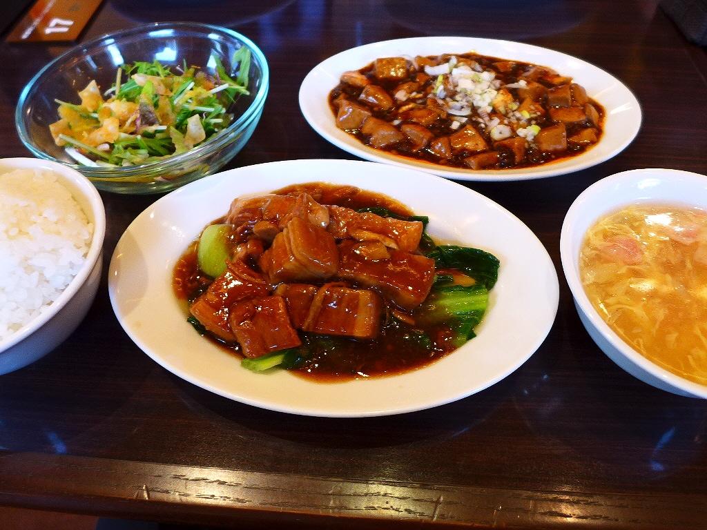 平日限定のビジネスランチはメインが二つで満足感が高いです! 大阪マルビル 「四川料理 御馥(イーフー) 大阪マルビル本店」