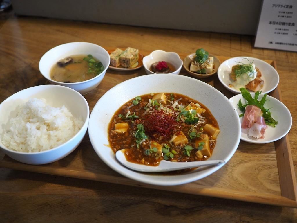 オープンしたばかりの串揚げ屋さんの和のテイストの麻婆豆腐ランチ! 北区大淀中 「kushiage サテライト」